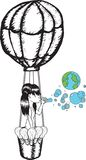 Girl blowing earth bubbles in hot air balloon Royalty Free Stock Photography