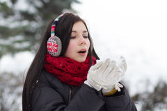 Girl blowing fluffy snowflakes Stock Photography