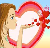 Girl Blowing hearts shape Stock Photos