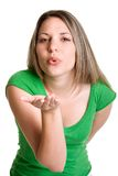 Girl Blowing Kiss stock photo