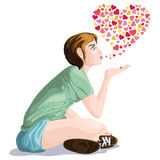 Girl blowing a kiss. Lateral view of a girl blowing a kiss in casual clothing, with small hearts in a shape of a bigger heart in the background. isolated on Royalty Free Stock Image