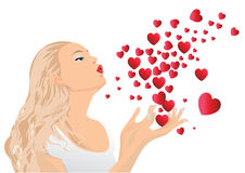 Girl blowing kisses. Vector illustration.The file can be scaled to any size Stock Photos