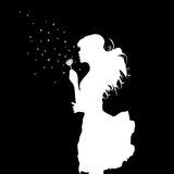 Girl blowing over dandelion. Black and white vector illustration Stock Photo