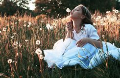 Girl blowing seeds from a flower dandelion in the autumn. Afternoonr Royalty Free Stock Photo