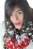 Girl Blowing Snow Stock Images