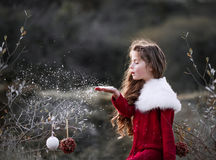 Girl blowing snow. A girl with long hair in red dress with white bolero is blowing snoflakes over the tree brunches where New Year decorations hang Stock Photography