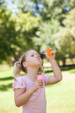 Girl blowing soap bubbles at park Royalty Free Stock Images