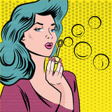 Girl blowing soap bubbles. Pop art comic style vector illustration. Stock Image