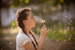 Girl blowing on white dandelion Stock Photo