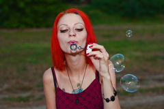 Girl Blows Bubbles Royalty Free Stock Photos