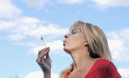 Girl blows on dandelion. And thinks desire Stock Photos