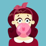 The girl blows gum. Vector illustration.  on white background Stock Images