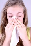 Girl Blows Her Nose With Handkerchief, Allergy Concept Stock Image