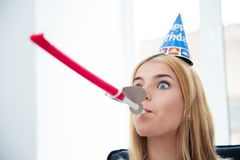 Girl blows whistle Stock Images