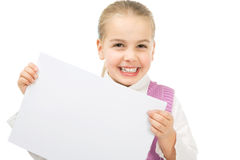 Girl with blsnk sheet of paper Royalty Free Stock Photos