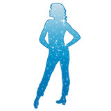 Girl blue. Girl wich stars on the body Stock Image