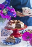 A girl in a blue apron in the kitchen and a cake, flowers in a vase. Good morning royalty free stock photos