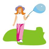 Girl and blue balloon Royalty Free Stock Photos
