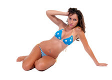 Girl in blue bikini Stock Photos