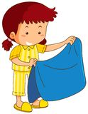 Girl and blue blanket. Illustration stock illustration