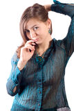 Girl in a blue blouse Stock Photo