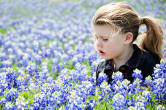 Girl In Blue Bonnets Royalty Free Stock Photo