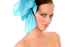 Girl with blue bow in hair Stock Images