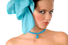 Girl with blue bow in hair Stock Photo