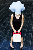 Girl with blue cloud on her head Stock Photos