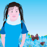 Girl blue daisy Royalty Free Stock Photos