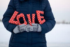 Girl in blue down jacket and gloves holding a sign Royalty Free Stock Photo