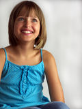 Girl in blue dress Royalty Free Stock Image