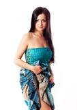 Girl in blue dress Stock Image