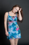 Girl in a blue dress Royalty Free Stock Photography