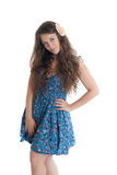 The girl in a blue dress Royalty Free Stock Images