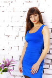 Girl in a blue dress Royalty Free Stock Images
