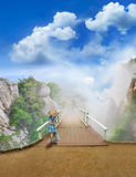 Girl in blue dress on a bridge Stock Photography