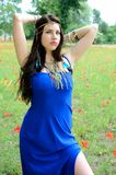 Girl with blue dress Royalty Free Stock Photography