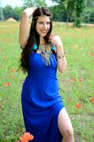 Girl with blue dress Royalty Free Stock Images