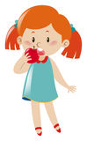 Girl in blue dress eating apple vector illustration