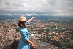 Girl in blue dress in Italy stock photo