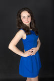 Girl in a blue dress Royalty Free Stock Photo