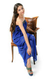 Girl in a blue dress Royalty Free Stock Image