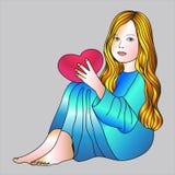 Girl in blue dress Stock Photos