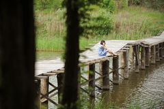 Having Rest on Bridge Royalty Free Stock Photography