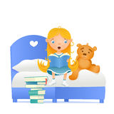 Girl in blue dress with teddy bear reading fairy tale book Royalty Free Stock Images