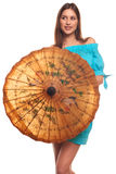 Girl in blue dress with umbrella isolate on white background Stock Photos