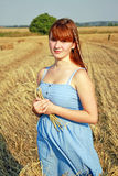 Girl in blue dress walking on wheat field Royalty Free Stock Photography