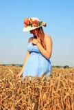 Girl in blue dress walking on wheat field Stock Photography