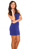 Girl in blue dress. On white background Stock Photography